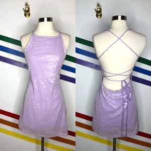 NEW MOTEL Sequin lace up back dress